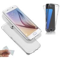 Teleplus Samsung Galaxy S7 Edge 360 Full Korumalı Silikon Kılıf Şeffaf