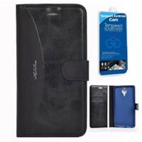 Teleplus General Mobile GM 5 Plus Cüzdanlı Kılıf Siyah + Cam Ekran Koruyucu