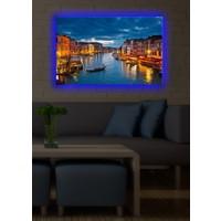 Gece Venedik Arkadan Aydınlatmalı Kanvas Tablo - 45X70 Cm
