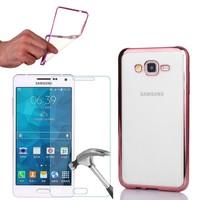 Cep Market Samsung Galaxy Grand Max Kılıf 0.3MM Lazer Silikon + Kırılmaz Cam