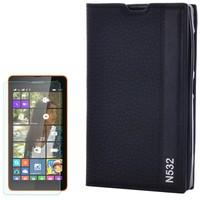 Cep Market Nokıa Lumia 532 Kılıf Kapaklı Magnum Mıknatıslı + Kırılmaz Cam