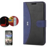 Cep Market HTC Desire 816/816 G Kılıf Standlı Deri Cüzdan + Kırılmaz Cam