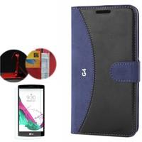 Cep Market LG G4 Kılıf Standlı Deri Cüzdan + Kırılmaz Cam