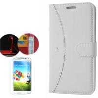Cep Market Samsung Galaxy S4 Kılıf Standlı Deri Cüzdan + Kırılmaz Cam
