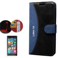 Cep Market Nokıa Lumia 735 Kılıf Standlı Deri Cüzdan + Cam