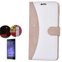 Cep Market Sony Xperia C4 Kılıf Kapaklı Cüzdan Kartvizitli + Kırılmaz Cam