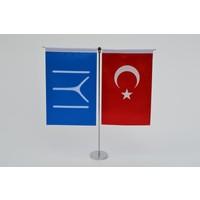 Bayrakal Kayı Boyu ve Türk Bayrağı Dikey Masa Bayrak Takımı