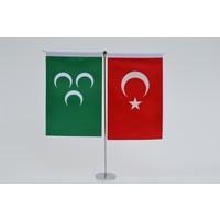 Bayrakal Osmanlı ve Türk Bayrağı Dikey Masa Bayrak Takımı
