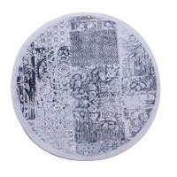 My Home My Home Patchwork Yuvarlak Gümüş Halı | 120x120 cm