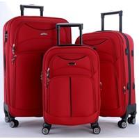 Ççs 095 4 Tekerlekli 3'Lü Valiz Seti Kırmızı