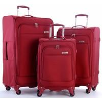 Travelx 4 Tekerlekli Katlanabilir 3'Lü Valiz Seti Kırmızı