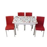 Mutfak Masası Takımı Cam Kırmızı Halka Yan Açılır Masa+4 Kırmızı Deri Sandalye