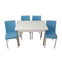 Mutfak Masası Takımı Cam Beyaz Yan Açılır Masa+6 Mavi Deri Sandalye