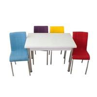 Mutfak Masası Takımı Cam Beyaz Yan Açılır Masa+1Sarı +1 Mor 1 Kırmızı 1 Mavi 1 Krem 1 Beyaz Deri Sandalye