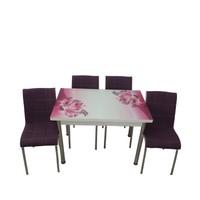Mutfak Masası Takımı Cam Mor Zambak Yan Açılır Masa +6 Mor Deri Sandalye
