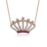İndigo Takı Taşlı Kraliçe Tacı Gümüş Kolye