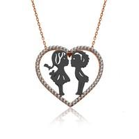İndigo Takı Rose Kalp İçinde Küçük Aşıklar Gümüş Kolye