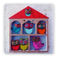 Oscar Stone Owls House Taş Tablo