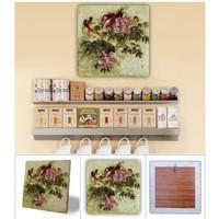 Oscar Stone Pembe Çiçekler Doğal Taş Tablo - 20X20 Cm