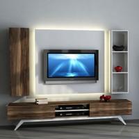 Sanal Mobilya Hayal Tv Ünitesi 12456 -Leon Ceviz-Parlak Beyaz