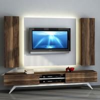 Sanal Mobilya Hayal Tv Ünitesi 12644-Leon Ceviz-Parlak Beyaz