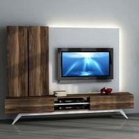 Sanal Mobilya Hayal Tv Ünitesi 12446 -Leon Ceviz-Parlak Beyaz