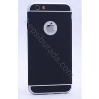 Case 4U Apple iPhone 5E 3 Parçalı Rubber Kapak Gümüş-Füme