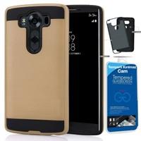 Teleplus LG V10 Çift Katmanlı Kapak Kılıf Gold + Kırılmaz Cam