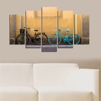Mavi Ve Siyah Bisiklet 5 Parça Mdf Tablo