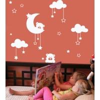 Dekorjinal Ay Ve Bulutlar Çocuk Sticker Cc26