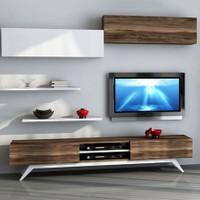 Sanal Mobilya Hayal Tv Ünitesi 12347 -Leon Ceviz-Parlak Beyaz