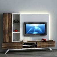 Sanal Mobilya Hayal Tv Ünitesi 12546 -Leon Ceviz-Parlak Beyaz