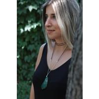 Lium Design Çift Süet Dolamalı-Zincirli Yeşil Kalsedon Kolye