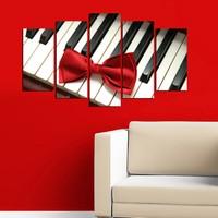 Piyano Ve Kurdele 5 Parça Mdf Tablo