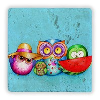 Oscar Stone Owls İn Holiday Taş Tablo