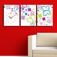 3 Parça Kanvas Saat - Renkli Kelebek Desenler