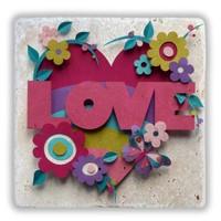 Oscar Stone Love Flowers Taş Tablo