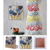Oscar Stone Mavi Çiçekler Doğal Taş Tablo - 20X20 Cm