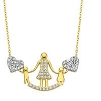 Diva Pırlanta 14 Ayar Altın Anne-Çocuk Kalbi Kolye