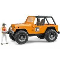 Bruder Jeep Cross Safari Aracı Kasklı Pilotu Turuncu