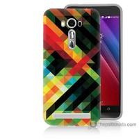Bordo Asus Zenfone 2 Laser 5.5 Kapak Kılıf Renkli Çizgiler Baskılı Silikon
