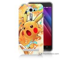 Bordo Asus Zenfone 2 Laser 5.5 Kapak Kılıf Kızgın Pikachu Baskılı Silikon