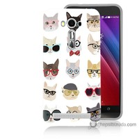 Bordo Asus Zenfone 2 Laser 5.5 Kapak Kılıf Gözlüklü Kediler Baskılı Silikon