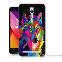 Bordo Asus Zenfone 2 Kapak Kılıf Renkli Kurt Baskılı Silikon