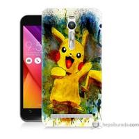 Bordo Asus Zenfone 2 Kapak Kılıf Tablo Pikachu Baskılı Silikon