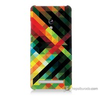 Bordo Asus Zenfone 5 Kapak Kılıf Renkli Çizgiler Baskılı Silikon