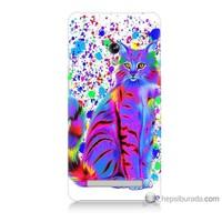 Bordo Asus Zenfone 5 Kapak Kılıf Renkli Kedicik Baskılı Silikon
