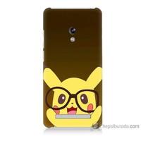 Bordo Asus Zenfone 5 Lite Kapak Kılıf Gözlüklü Pikachu Baskılı Silikon