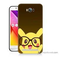 Bordo Asus Zenfone Max Kapak Kılıf Gözlüklü Pikachu Baskılı Silikon