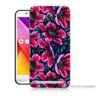 Bordo Asus Zenfone Max Kapak Kılıf Pembe Çiçek Baskılı Silikon
